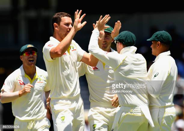 Josh Hazlewood of Australia celebrates after taking the wicket of James Vince of Englandduring day one of the Third Test match of the 2017/18 Ashes...