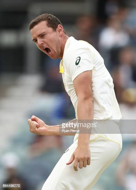 Josh Hazlewood of Australia celebrates after taking the wicket of Jonny Bairstow of England during day five of the Third Test match during the...