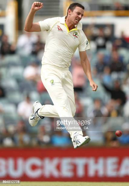 Josh Hazlewood of Australia celebrates after taking the wicket of Craig Overton of England during day five of the Third Test match during the 2017/18...