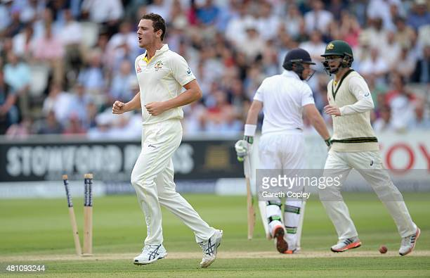 Josh Hazlewood of Australia celebrates bowling Ian Bell of England during day two of the 2nd Investec Ashes Test match between England and Australia...