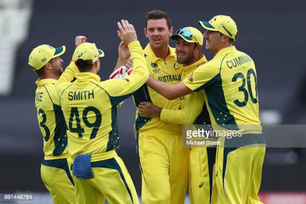 Josh Hazlewood of Australia celebrates capturing the wicket of Martin Guptill of New Zealand during the ICC Champions Trophy match between Australia...
