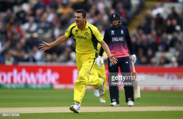 Josh Hazlewood of Australia celebrates dismissing Alex Hales of England during the ICC Champions Trophy match between England and Australia at...