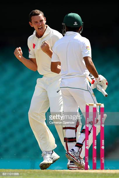 Josh Hazlewood of Australia celebrates dismissing Babar Azam of Pakistan during day five of the Third Test match between Australia and Pakistan at...