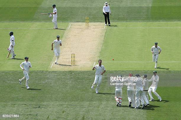 Josh Hazlewood of Australia celebrates dismissing JeanPaul Duminy of South Africa during day one of the Third Test match between Australia and South...