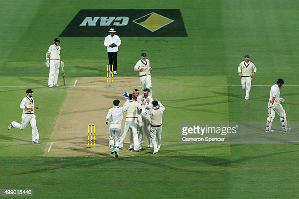 Josh Hazlewood of Australia celebrates dismissing Ross Taylor of New Zealand for lbw during day two of the Third Test match between Australia and New...