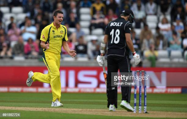 Josh Hazlewood of Australia celebrates dismissing Trent Boult of New Zealand during the ICC Champions Trophy match between Australia and New Zealand...