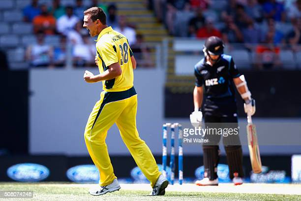 Josh Hazlewood of Australia celebrates his wicket of Kane Williamson of New Zealand during the One Day International match between New Zealand and...