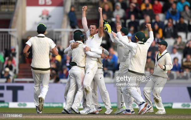 Josh Hazlewood of Australia celebrates taking the final wicket of Craig Overton of England to win the 4th Specsavers Ashes Test match between England...