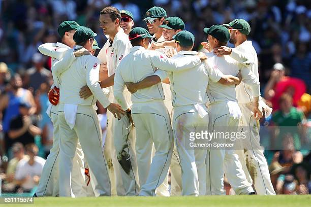 Josh Hazlewood of Australia celebrates taking the final wicket of Imran Khan of Pakistan and winning the test during day five of the Third Test match...