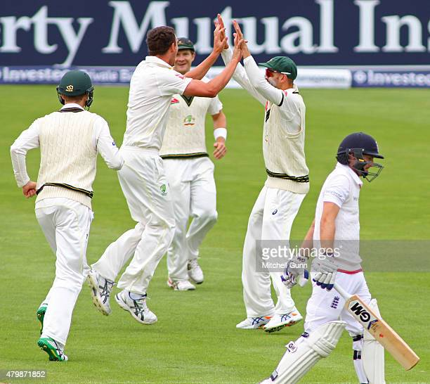 Josh Hazlewood of Australia celebrates taking the wicket of Adam Lyth of England during day one of the first 1st Investec Ashes Test match at SSE...