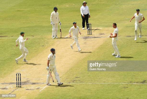 Josh Hazlewood of Australia celebrates taking the wicket of Alastair Cook of England during day four of the Third Test match during the 2017/18 Ashes...