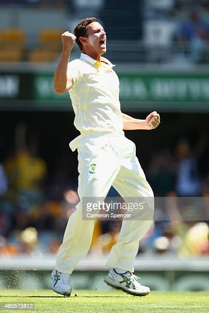 Josh Hazlewood of Australia celebrates taking the wicket of Cheteshwar Pujara of India during day one of the 2nd Test match between Australia and...