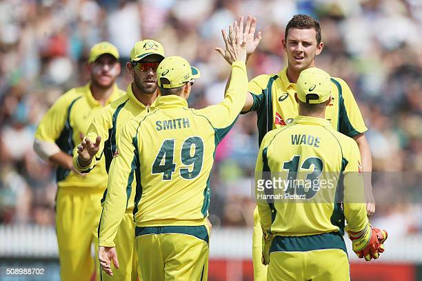 Josh Hazlewood of Australia celebrates the wicket of Henry Nicholls of the Black Caps during the 3rd One Day International cricket match between the...