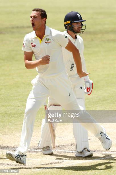 Josh Hazlewood of Australia celebrates the wicket of Mark Stoneman of England during day four of the Third Test match during the 2017/18 Ashes Series...