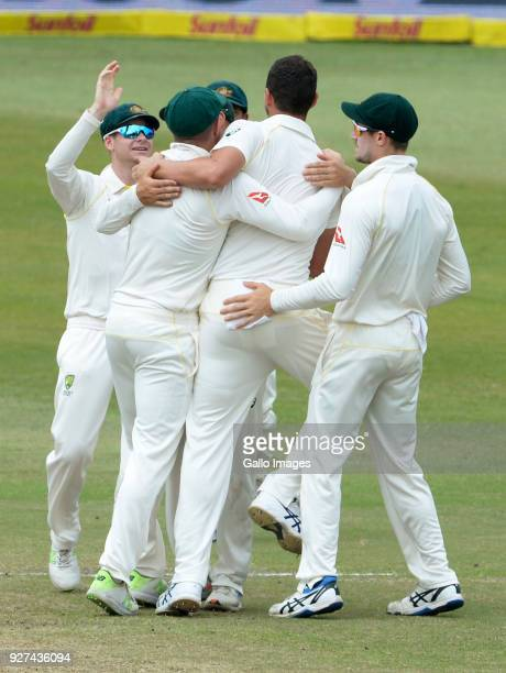 Josh Hazlewood of Australia celebrates the wicket of Quinton de Kock of the Proteas during day 5 of the 1st Sunfoil Test match between South Africa...