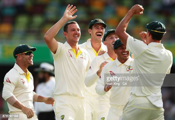 Josh Hazlewood of Australia celebrates with team mates after taking the wicket of Alastair Cook of England during day three of the First Test Match...