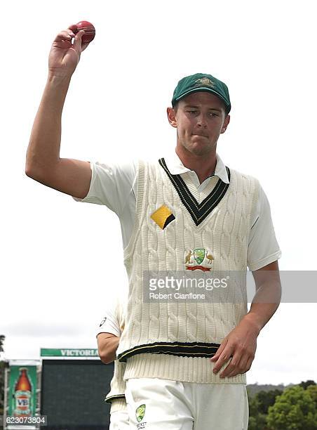 Josh Hazlewood of Australia leaves the ground after the first innings during day three of the Second Test match between Australia and South Africa at...