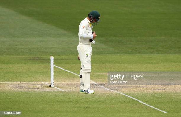 Josh Hazlewood of Australia looks dejected after India claimed victory during day five of the First Test match in the series between Australia and...