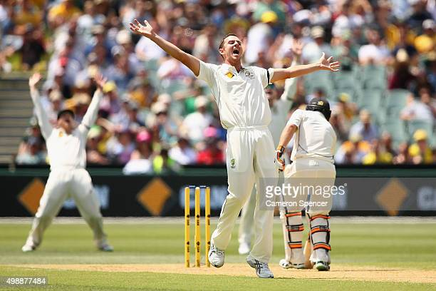 Josh Hazlewood of Australia makes an unsuccessful appeal for lbw during day one of the Third Test match between Australia and New Zealand at Adelaide...