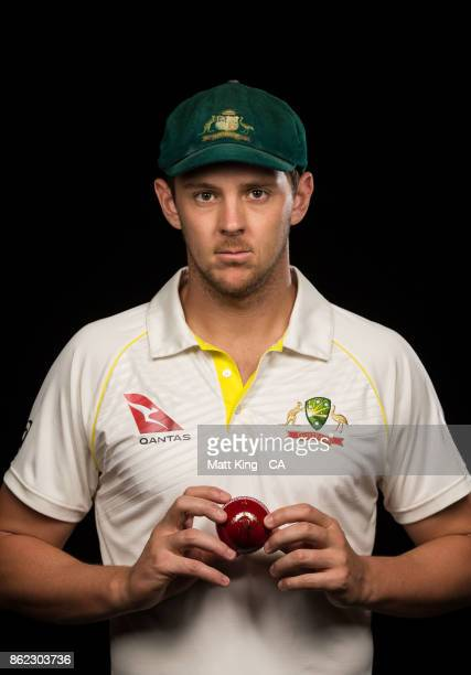 Josh Hazlewood of Australia poses during the Australia Test cricket team portrait session at Intercontinental Double Bay on October 15 2017 in Sydney...