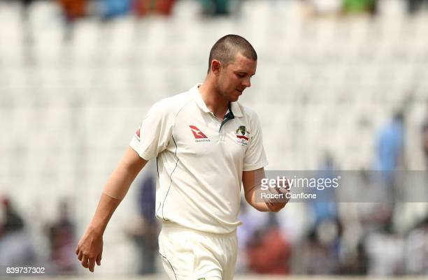 Josh Hazlewood of Australia prepares to bowl during day one of the First Test match between Bangladesh and Australia at Shere Bangla National Stadium...