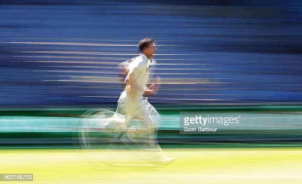 Josh Hazlewood of Australia runs in to bowl during day four of the Second Test match between Australia and the West Indies at the Melbourne Cricket...