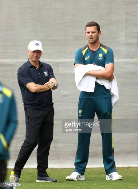 Josh Hazlewood of Australia speaks to former Australian Captain Steve Waugh during an Australian nets session at Adelaide Oval on December 04 2018 in...