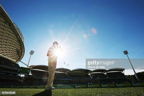 Josh Hazlewood of Australia stands on the boundary during day three of the Third Test match between Australia and South Africa at Adelaide Oval on...
