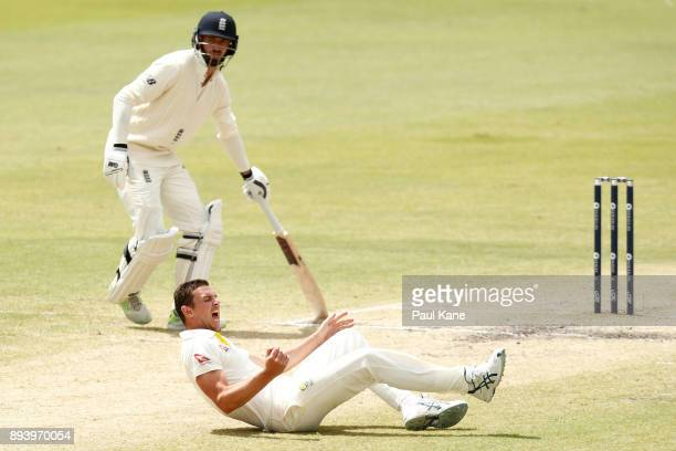 Josh Hazlewood of Australia takes a catch of his bowling to dismiss Alistair Cook of England during day four of the Third Test match during the...