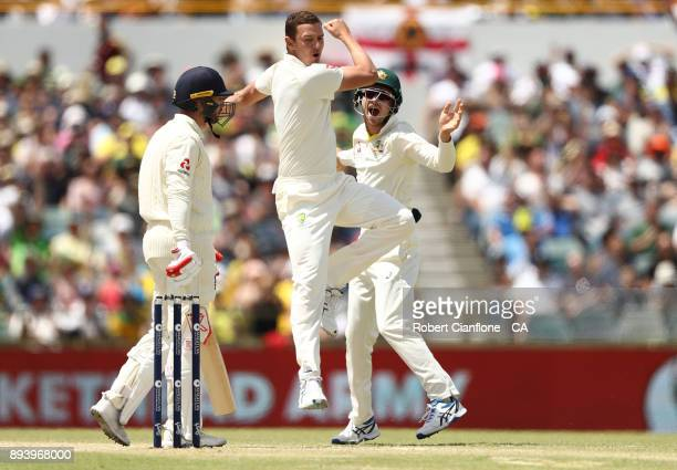 Josh Hazlewood of Australia takes the wicket of Mark Stoneman of England during day four of the Third Test match during the 2017/18 Ashes Series...