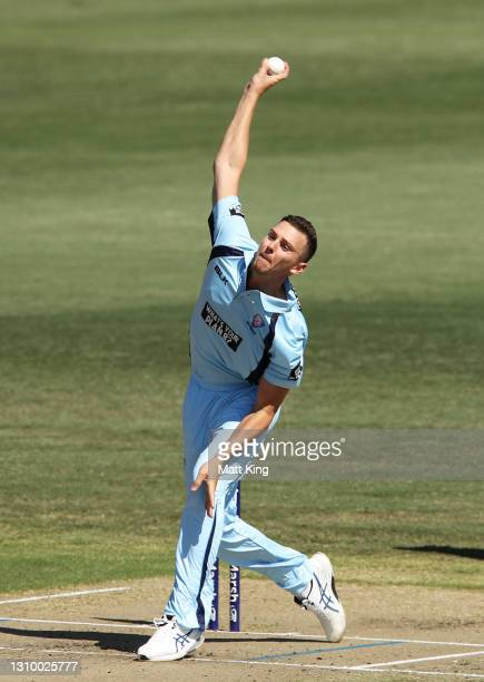 Josh Hazlewood of New South Wales bowls during the Marsh One Day Cup match between New South Wales and Queensland at North Sydney Oval on March 31,...
