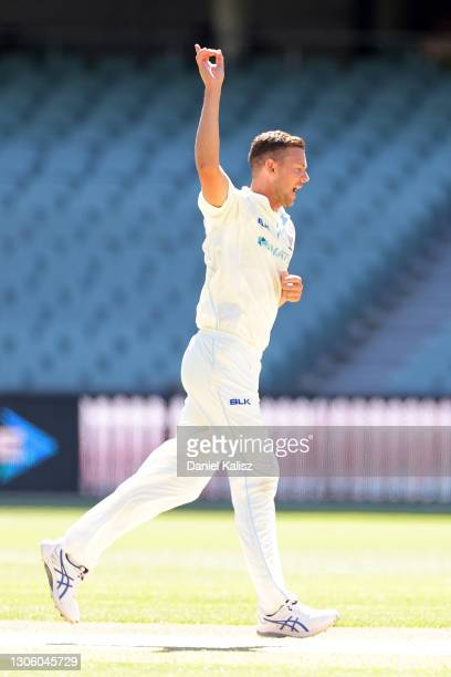 Josh Hazlewood of New South Wales celebrates during day four of the Sheffield Shield match between South Australia and New South Wales at Adelaide...
