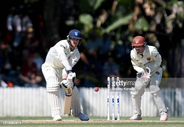 Josh Hazlewood of New South Wales plays a shot during day four of the Sheffield Shield Final match between Queensland and New South Wales at Allan...