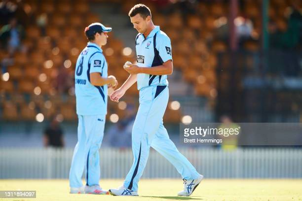 Josh Hazlewood of NSW is pictured during the 2021 Marsh One Day Cup Final match between New South Wales and Western Australia at Bankstown Oval on...