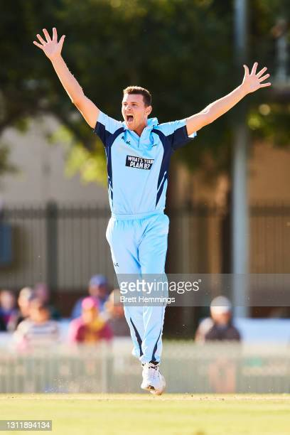 Josh Hazlewood of NSW unsuccessfully appeals for a wicket during the 2021 Marsh One Day Cup Final match between New South Wales and Western Australia...