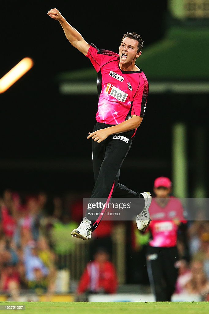Josh Hazlewood of the Sixers celebrates after claiming the wicket of Evan Gulbis of the Hurricanes during the Big Bash League match between the Sydney Sixers and the Hobart Hurricanes at SCG on January 15, 2014 in Sydney, Australia.
