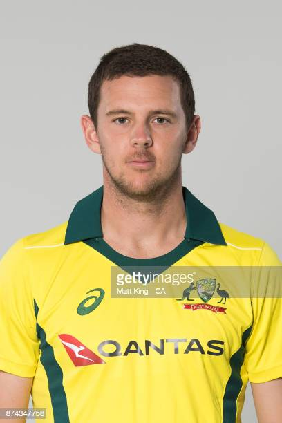 Josh Hazlewood poses during the Australia One Day International Team Headshots Session at Intercontinental Double Bay on October 15 2017 in Sydney...