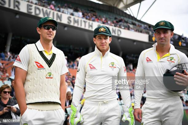 Josh Hazlewood Tim Paine and Shaun Marsh of Australia look on during day three of the Second Test match during the 2017/18 Ashes Series between...