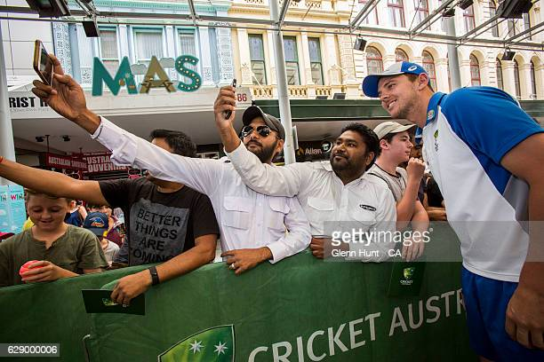 Josh Hazlewood with fans during the Commonwealth Bank Test Series Launch at Queen Street Mall on December 11 2016 in Brisbane Australia