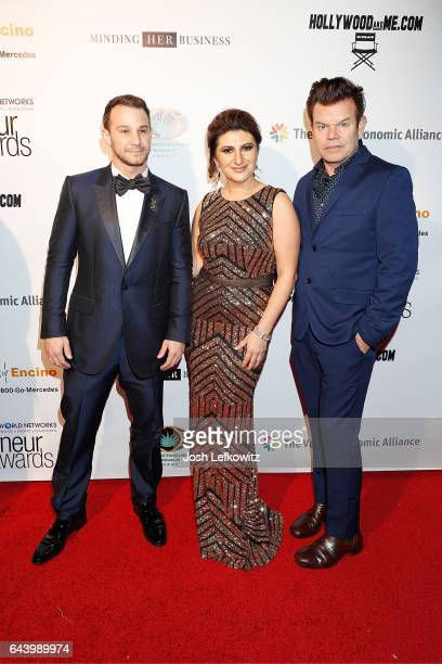 Josh Heffler founder of The World Networks Lousine Karibian and DJ/music producer Paul Oakenfold attend the 2017 Entrepreneur Awards at Allure Events...