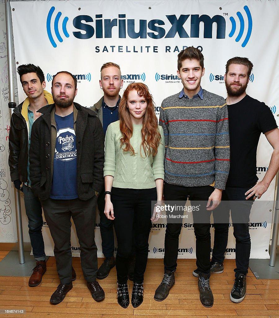 Josh Hefner, Stevie Billeaud, Joshua Wells, Nora Patterson, Gary Larsen and Andrew Poe of Royal Teeth visit at SiriusXM Studios on March 25, 2013 in New York City.