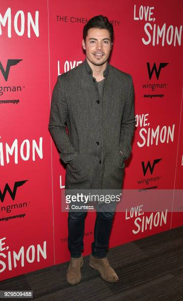 Josh Henderson poses for a photo at the screening of 'Love Simon' hosted by 20th Century Fox Wingman at The Landmark at 57 West on March 8 2018 in...