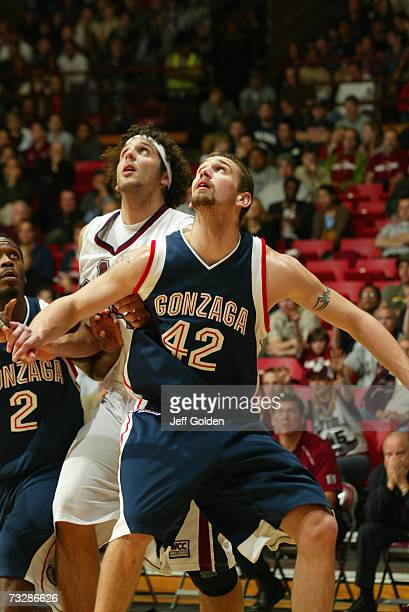 Josh Heytvelt of the Gonzaga Bulldogs blocks out against Matthew Knight of the Loyola Marymount Lions on February 5 2007 at Gersten Pavilion in Los...