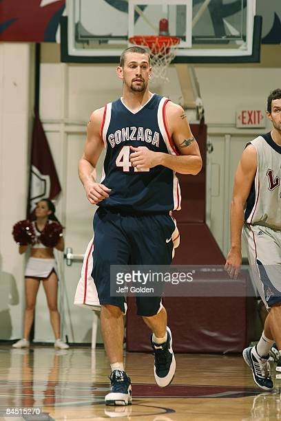 Josh Heytvelt of the Gonzaga Bulldogs jogs on the court against the Loyola Marymount Lions on January 24 2009 at Gersten Pavilion in Westchester...