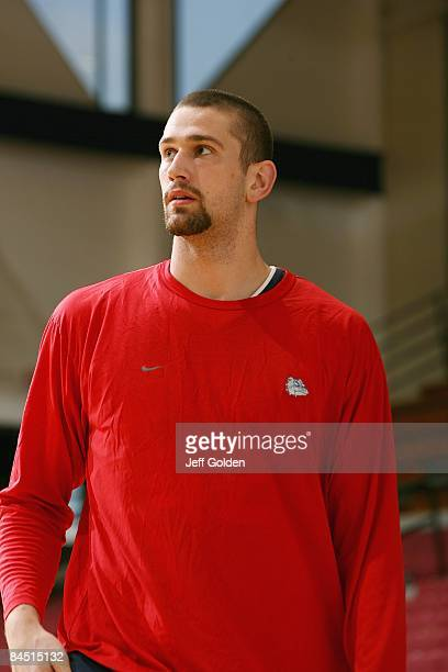 Josh Heytvelt of the Gonzaga Bulldogs looks on before the game against the Loyola Marymount Lions on January 24 2009 at Gersten Pavilion in...