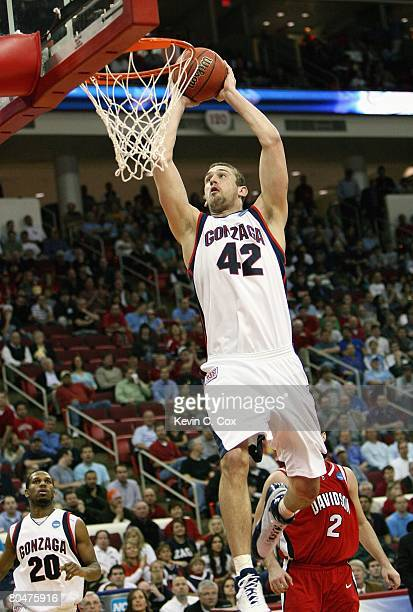Josh Heytvelt of the Gonzaga Bulldogs makes a layup against the Davidson Wildcats during the 1st round of the 2008 NCAA Men's Basketball Tournament...