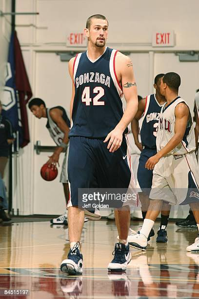 Josh Heytvelt of the Gonzaga Bulldogs walks on the court against the Loyola Marymount Lions on January 24 2009 at Gersten Pavilion in Westchester...