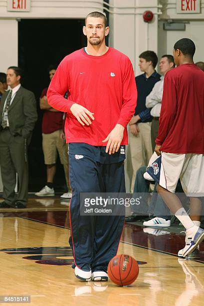 Josh Heytvelt of the Gonzaga Bulldogs warms up before the game against the Loyola Marymount Lions on January 24 2009 at Gersten Pavilion in...