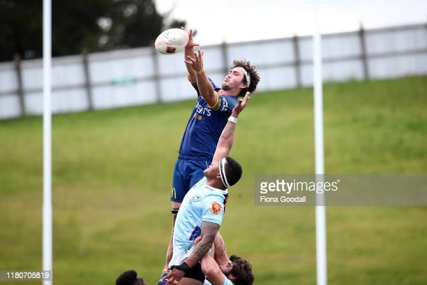 Josh Hill of Otago takes the lineout ball during the round 10 Mitre 10 Cup match between Northland and Otago at Semenoff Stadium on October 13 2019...