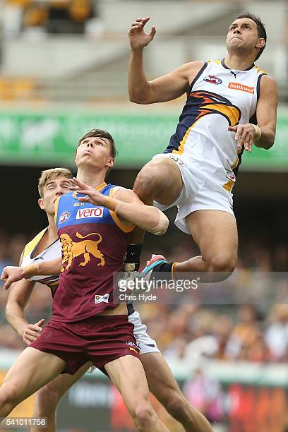Josh Hill of the Eagles attempts a mark during the round 13 AFL match between the Brisbane Lions and the West Coast Eagles at The Gabba on June 18...